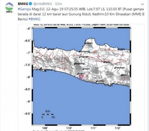 Gempa magnitudo 3 guncang Gunung Kidul. (Foto : Info BMKG/Twitter)