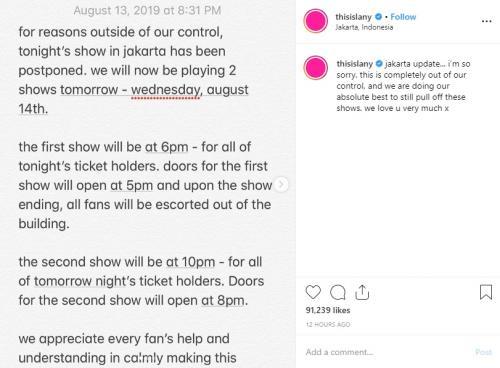 LANY membatalkan konser pertamanya di Jakarta. (Foto: Instagram)