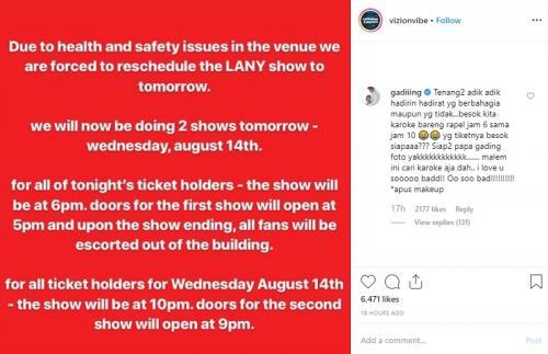 Gading Marten turut mengomentari pembatalan konser hari pertama LANY di Jakarta. (Foto: Instagram)