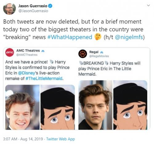 Harry Styles menolak tawaran untuk berperan sebagai Pangeran Eric dalam The Little Mermaid. (Foto: Twitter)