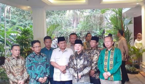 Plt Ketum PPP Suharso Monoarfa bertemu Ketum Gerindra Prabowo Subianto (foto: Sarah Hutagaol/Okezone)