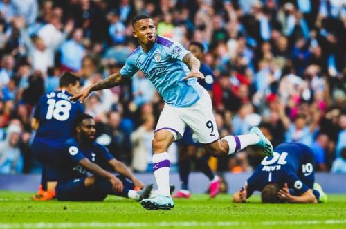 Ekspresi Gabriel Jesus saat mencetak gol untuk Man City