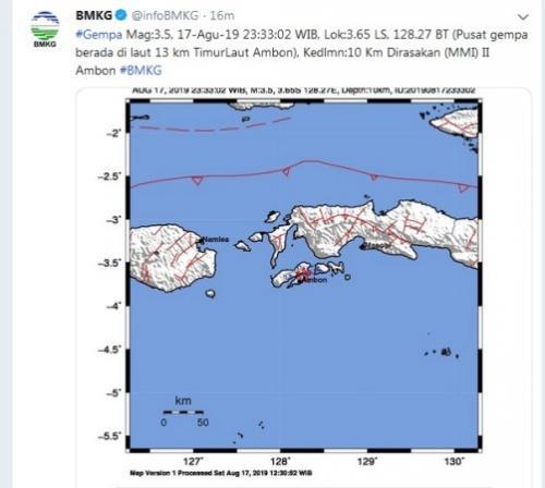 Gempa magnitudo 3,5 di Ambon. (Twitter/@infoBMKG)