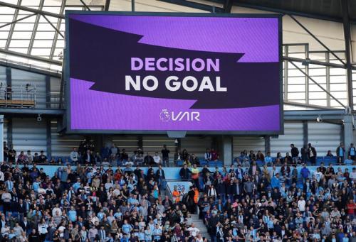 VAR menganulir gol penentu kemenangan Man City (Foto: Premier League)