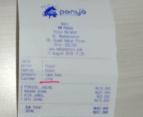 Struk bertulis nama customer Cina. (Ist)
