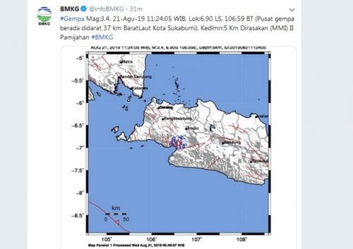 Gempa magnitudo 3,4 goyang Sukabumi. (Twitter/@infoBMKG)