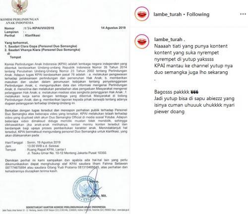 Surat KPAI untuk Duo Semangka
