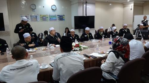 Rombongan Haji Malaysia 1440H saat bertemu Misi Haji Indonesia, di Makkah, Arab Saudi. (Foto : Bahauddin/MCH 2019)