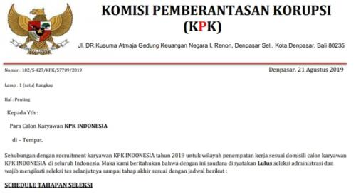 Surat palsu seleksi pegawai KPK Denpasar Bali. (Foto: Ist)