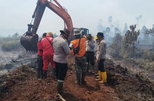 Petugas melakukan pemadaman di lahan diduga perusahaan milik PT Teso di Inhu, Riau (foto: Banda H Tanjung/Okezone)