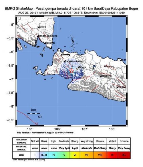 Gempa di Kabupaten Bogor (Foto: Twitter/BMKG)