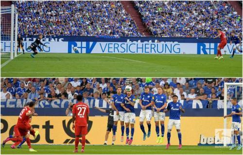 Kedua gol Robert Lewandowski dari situasi bola mati (Foto: Twitter/Bundesliga)