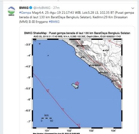 Gempa magnitudo 4,4 guncang Bengkulu Selatan (Twitter/@infoBMKG)