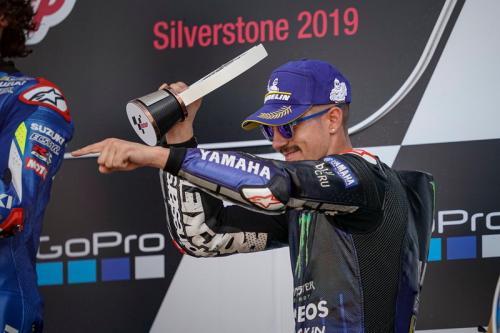 Kebahagiaan Maverick Vinales saat finis podium di Silverstone