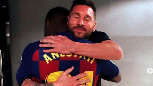Ansu Fati dan Lionel Messi (Foto: Instagram/@Leomessi)