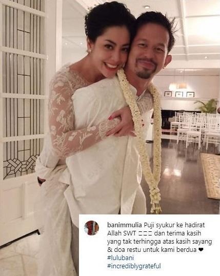 Lulu Tobing pamer kemesraan setelah resmi dinikahi Bani M. Mulia. (Foto: Instagram/@banimmulia)