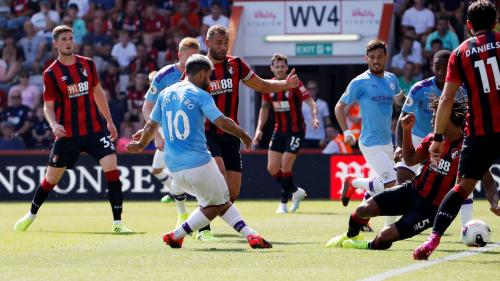 Sergio Aguero vs Bournemouth (Foto: Premier League)