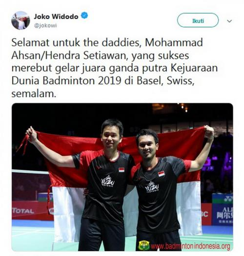 Tweet Jokowi untuk Ahsan/Hendra