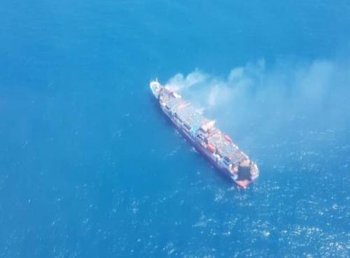 Basarnas temukan KM Santika Nusantara yang terbakar di perairan Masalembu, Sumenep, Jatim. (Foto : Dok Humas Kantor SAR Surabaya)