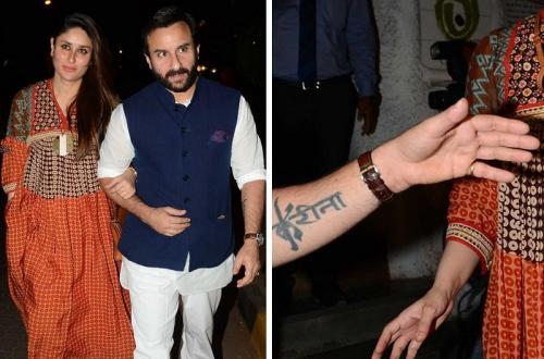 Tato pertama Saif Ali Khan merupakan nama sang istri, Kareena Kapoor. (Foto: Instagram/@viralbhayani)
