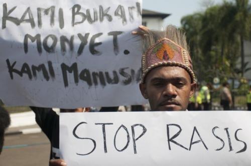 Aksi damai warga Papua. (Foto: Novrian Arbi/Antara)