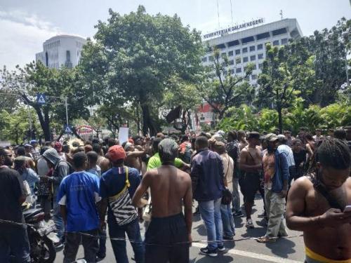 Aksi damai mahasiswa Papua di Jakarta. (Foto: Fakhrizal Fakhri/Okezone)