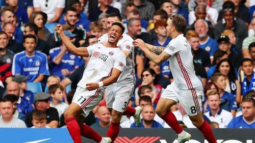 Sheffiel rayakan gol ke gawang Chelsea (Foto: Premier League)