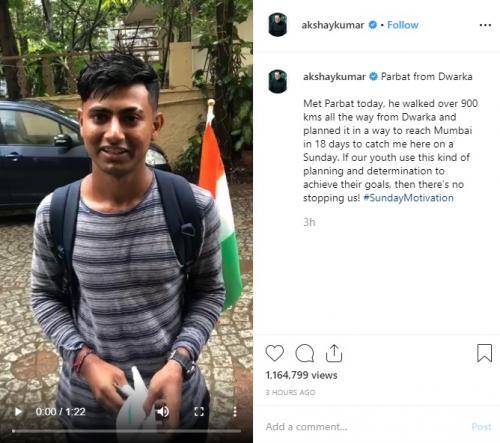 Akshay Kumar mengaku tersentuh dengan aksi penggemar mudanya ini untuk bertemu dengannya. (Foto: Instagram/@akshaykumar)