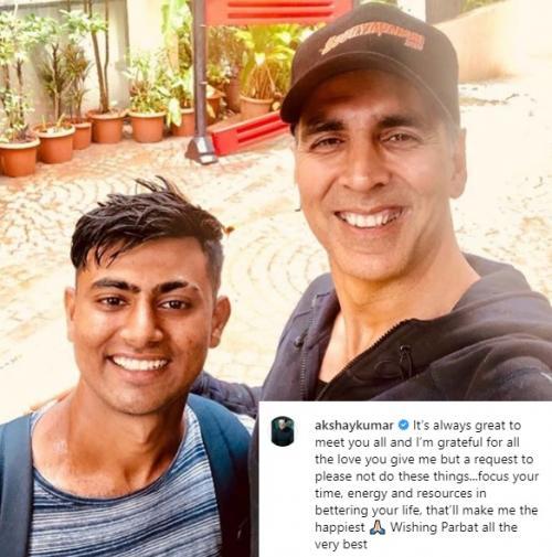 Meski tersentuh dengan aksi penggemarnya itu namun Akshay Kumar meminta fansnya untuk tak melakukan hal serupa. (Foto: Instagram/@akshaykumar)