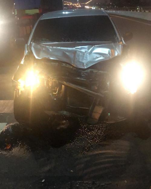 Mobil Ihsan Tarore usai kecelakaan
