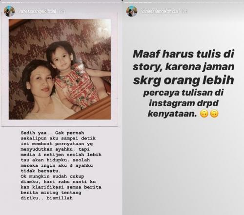 Vanessa Angel enggan buka mulut tentang sang ayah. (Foto: Instagram/@vanessanagelofficial)