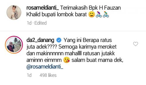 Danang goda Rosa Meldianti soal honor manggung. (Foto: Instagram/@rosameldianti_)