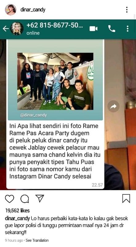 Dinar Candy akan laporkan 'kekasih' Chand Kelvin ke polisi. (Foto: Instagram/@dinar_candy)