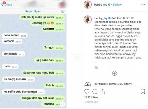 Chat seks DJ Bebby Fey dengan YouTuber