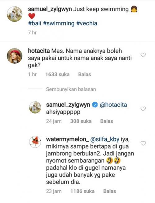 Samuel Zylgwyn menjawab sindiran netizen soal nama anaknya. (Foto: Instagram/@samuel_zylgwyn)