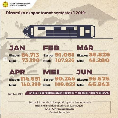Data Kementan terkait jumlah ekspor tomat sepanjang semester I-2019 (Dok. Kementan)