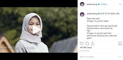 Arie Untung curhat di Instagram soal putrinya yang mulai beranjak dewasa. (Foto: Instagram/@ariekuntung)