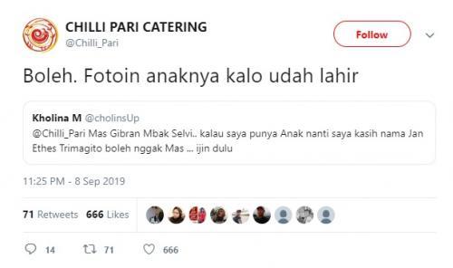 Seorang netizen meminta izin kepada Gibran Rakabuming untuk memakai nama Jan Ethes untuk keponakannya. (Foto: Twitter/@Chilli_Pari)