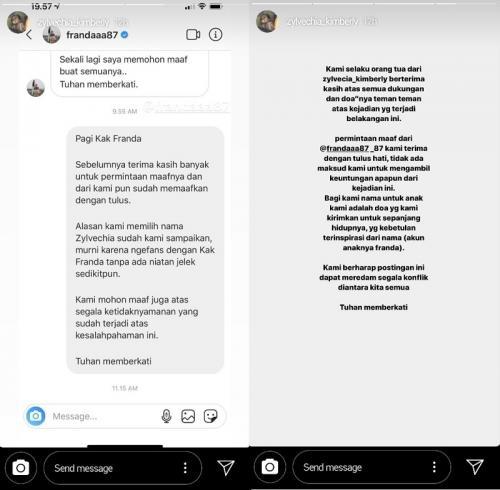 Franda akhirnya meminta maaf kepada orangtua Zylvechia Kimberly yang dia tuding 'curi' nama anaknya. (Foto: Instagram/@zylvechia_kimberly)