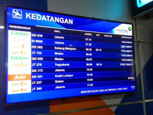 Ilustrasi jadwal kedatangan pesawat