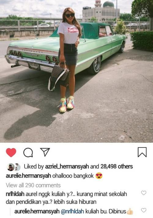 Aurel Hermansyah jawab tudingan gak suka sekolah. (Foto: Instagram/@aurelie.hermansyah)