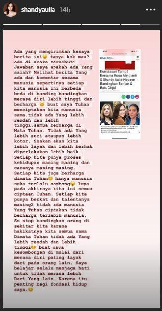 Shandy Aulia beri komentar bijak saat disandingkan dengan Barbie Kumalasari dan Rosa Meldianti. (Foto: Instagram/@shandyaulia)