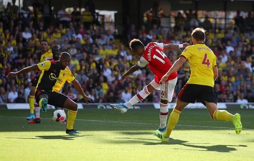 Pierre-Emerick Aubameyang cetak dua gol di laga tersebut (Foto: Premier League)
