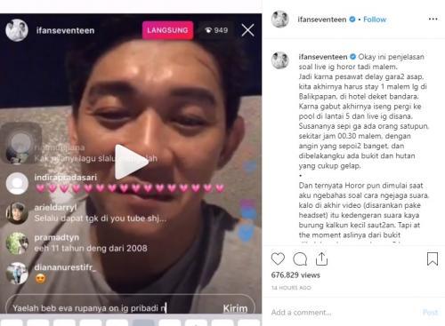 Ifan Seventeen mengalami kejadian mistis saat menginap di sebuah hotel di Balikpapan, Kalimantan Timur. (Foto: Instagram/@ifanseventeen)