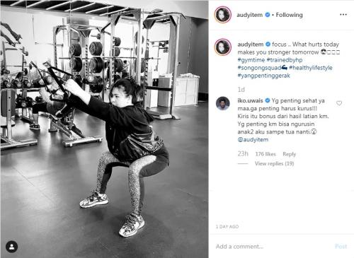 Komentar romantis Iko Uwais untuk Audy Item. (Foto: Instagram/@audyitem)