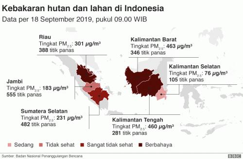 Kebakaran hutan dan lahan di Indonesia. (Foto: BBC News Indonesia)