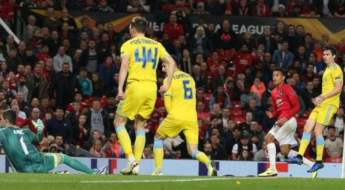 Gol tunggal Mason Greenwood di laga kontra Astana (Foto: UEFA)