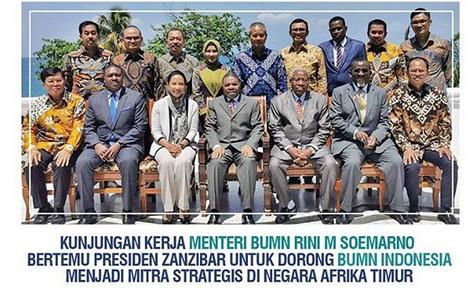 Menteri BUMN Rini Soemarno saat kunjungan kerja di Zanzibar, Afrika Timur (Foto: Okezone.com/Instagram @kementerianbumn)