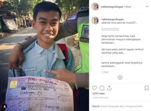 Pelajar bernama Valentino Rossi ditilang polisi di Grobogan. (Foto: Instagram @satlantasgrobogan)