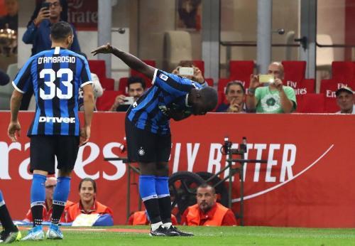 Selebrasi Romelu Lukaku saat sedang membela Inter Milan